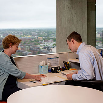 two people meeting in office